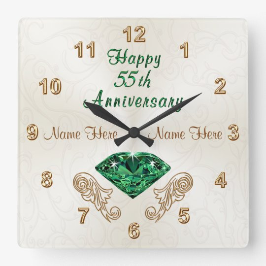 Personalised 55th Anniversary Gifts, Emerald Clock
