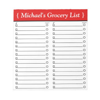"""Personalised 5.5"""" x 6"""" Red Grocery List Notepad"""