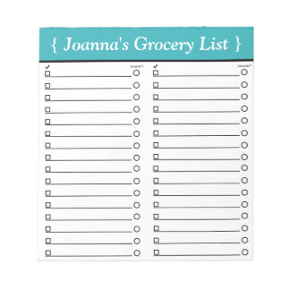 """Personalised 5.5"""" x 6"""" Teal Grocery List Notepad"""