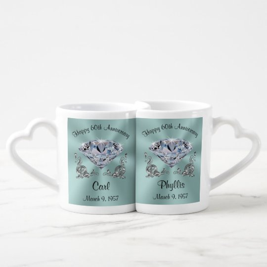 Personalised 60th Anniversary Mugs Set for Two