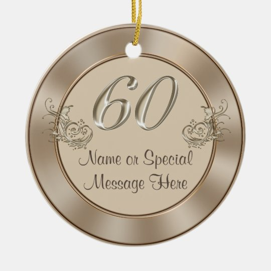 Personalised 60th Anniversary or Birthday Ornament