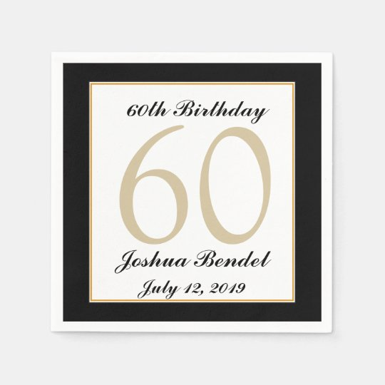 Personalised 60th Birthday Party Napkins