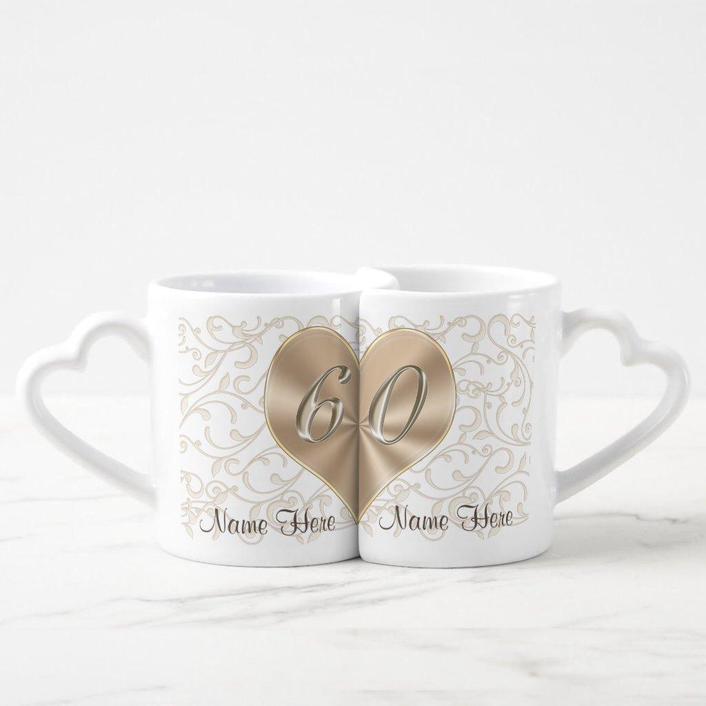 Personalised 60th Wedding Anniversary Lovers Mugs