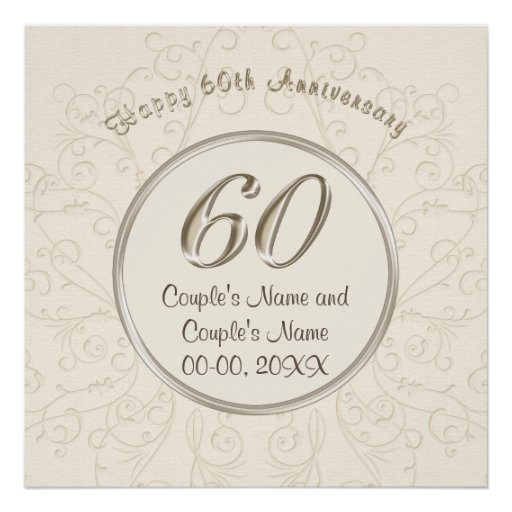 Personalised 60th Wedding Anniversary Posters