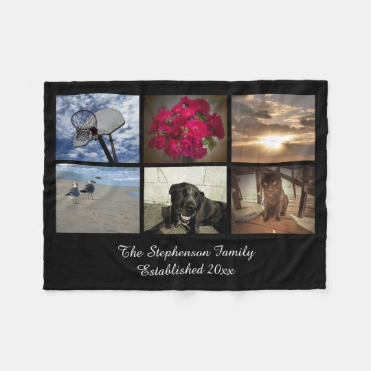 Personalised 6 Photo Text Mosaic Picture Collage Fleece