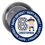 Personalised 6th Birthday Baseball Catcher BW 7.5 Cm Round Badge