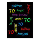 Personalised 70th Birthday Card Any Name, Black