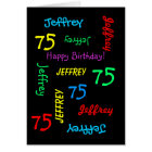 Personalised 75th Birthday Card Any Name, Black