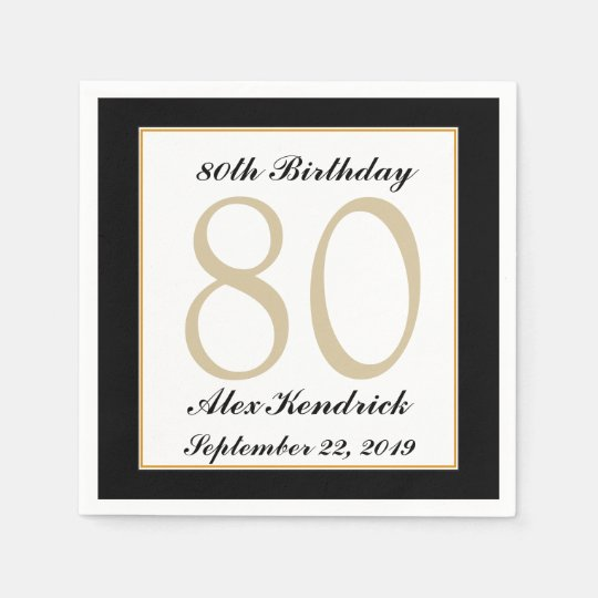 Personalised 80th Birthday Party Napkins Disposable Serviette