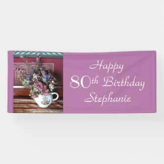 Personalised 80th Birthday Vintage Teapot Purple Banner