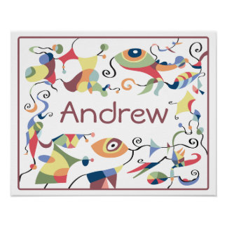Personalised Abstract Poster for Child's Room