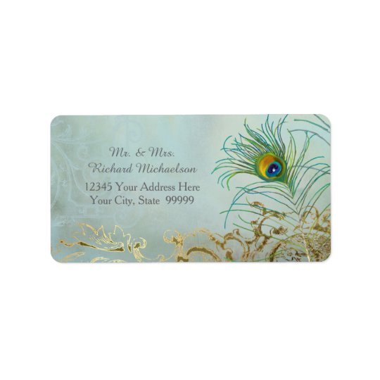 Personalised Address Elegant Peacock Feathers Art Label