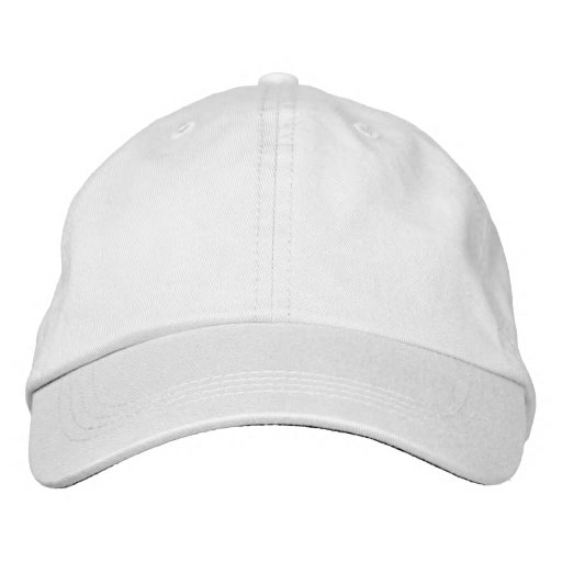 White Basic Adjustable Cap Embroidered Hat