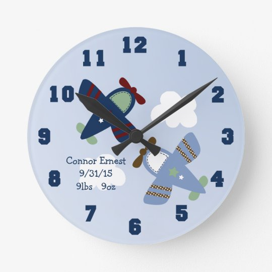 Personalised Adorable Aeroplanes Nursery Clock