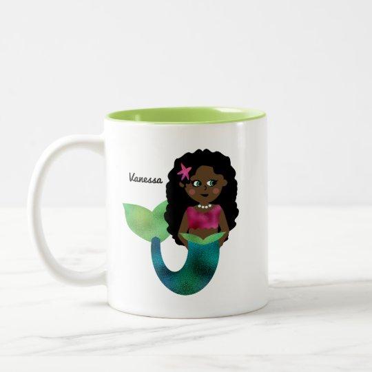 Personalised African American Mermaid Faux Foil Two-Tone Coffee