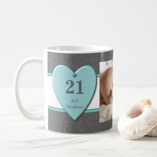 Personalised age 21st Birthday Photo turquoise Coffee Mug