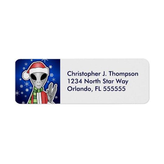 Personalised Alien Santa Return Address Labels