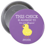 Personalised Allergy Alert Fluffy Yellow Chick 10 Cm Round Badge