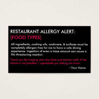 Personalised Allergy Restaurant & ICE Card - HP