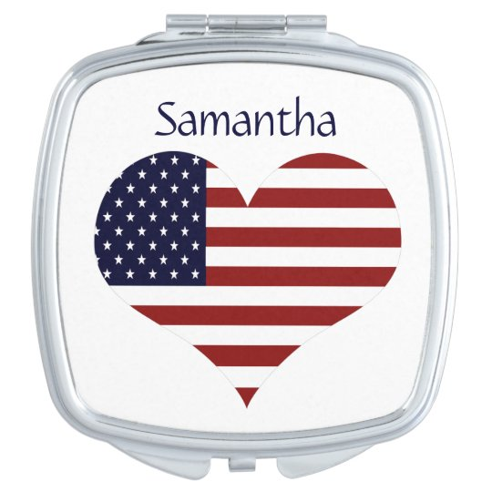 Personalised American Flag Heart Compact Mirror
