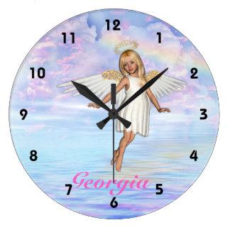 Personalised Angel Sky Wall Clock - Numbered
