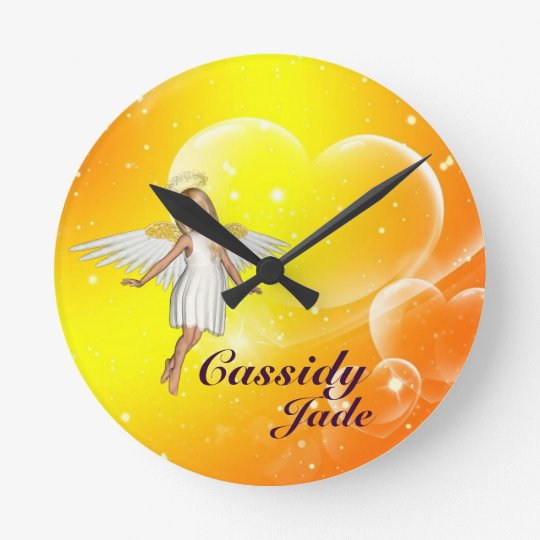 Personalised Angel Wall Clock - yellow hearts