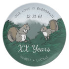 Personalised Anniversary Evergreen Love Squirrels Plate