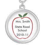 Personalised Apple For # 1 Teacher Necklace