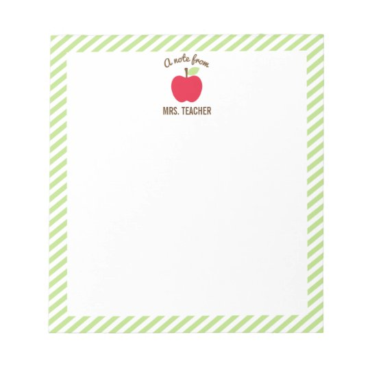 Personalised Apple Teacher Notepad, Green Notepad