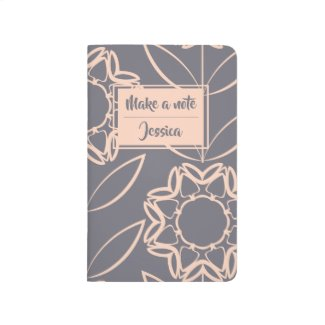 Personalised | Apricot Colour Flower Pattern Journal