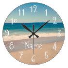 Personalised Aqua Beach Scene Large Clock