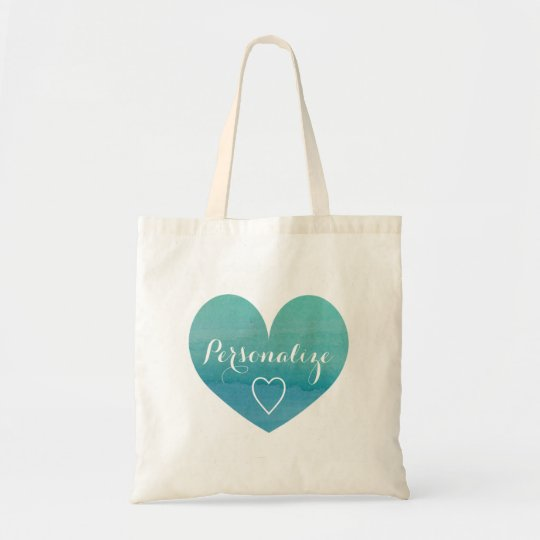 Personalised aqua water colour heart tote bag