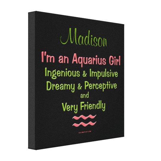 Personalised Aquarius Girls Canvas Wrap