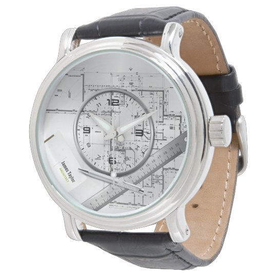 personalised architect plans leather watch