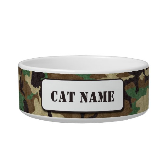 Personalised Army Woodland Camouflage Cat Bowl