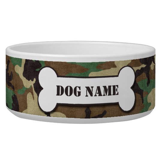 Personalised Army Woodland Camouflage Dog Bowl
