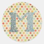 Personalised Art Letter M Round Sticker