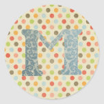 Personalised Art Letter M Round Stickers