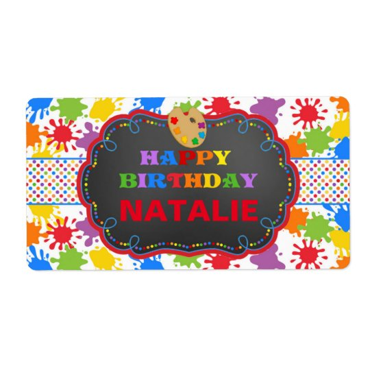 Personalised Art Paint Birthday Water Bottle Label Shipping Label