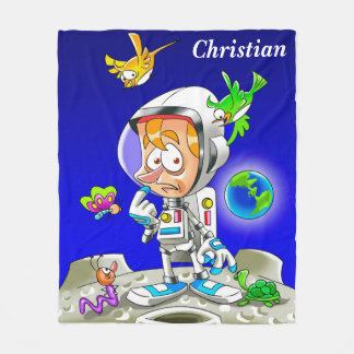 Personalised Astronaut Cartoon Fleece Blanket