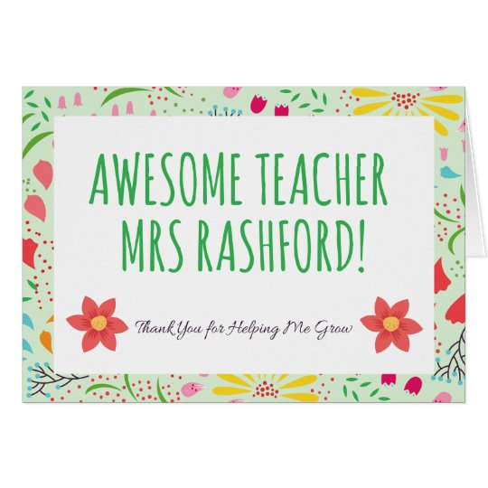 Personalised Awesome Teacher Card