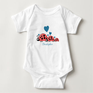 Personalised baby boy ladybirds bodysuit