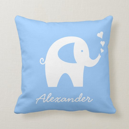 Personalised baby elephant throw pillow | Blue