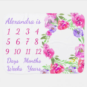Personalised Baby Month Week Age Milestone Growth Baby Blanket