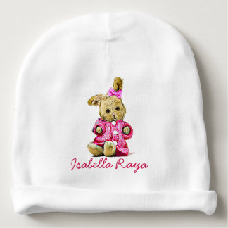 Personalised Baby Name Cap for Newborn Pink Bunny Baby Beanie