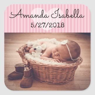 Personalised Baby Photo Stickers Pink Heart Stripe