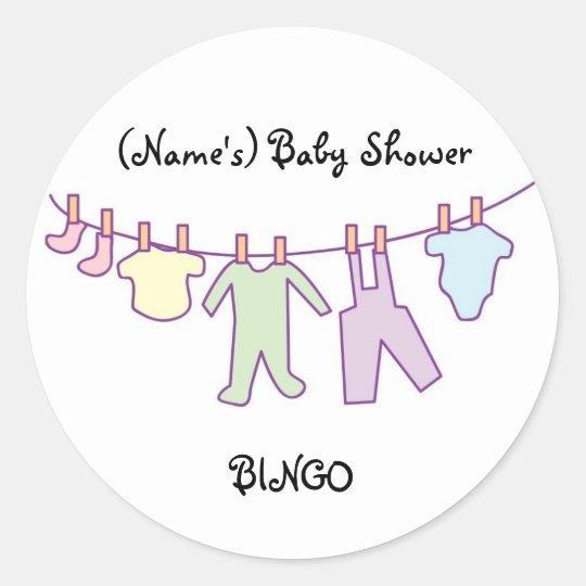 Personalised Baby Shower Sticker-Clothesline Classic Round Sticker