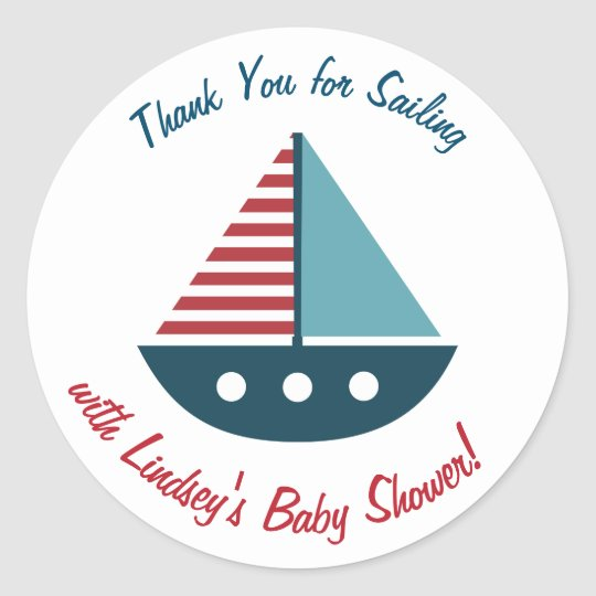 Personalised Baby Shower Stickers- Nautical Theme Classic Round