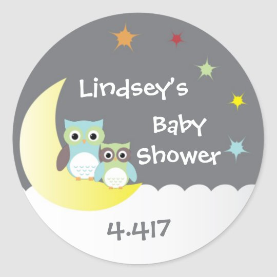 Personalised Baby Shower Stickers with Owls