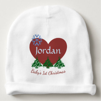 """Personalised """"Baby's First Christmas"""" Baby Hat Baby Beanie"""